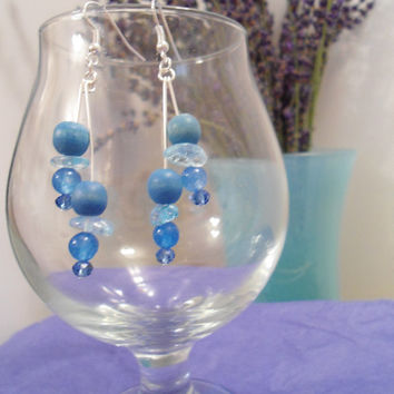 Blue Crystal: Blue Earrings, Crystal Earrings, Wood Earrings, Chalcedony Earrings, Swarovski Earrings, Quartzite Earrings