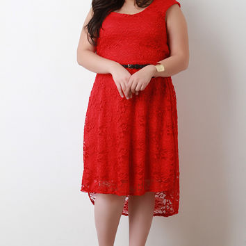 Cap Sleeve High Low Hem Lace Skater Dress
