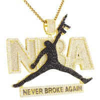 Black Jump man Dunk Never Broke Again Gun Pendant
