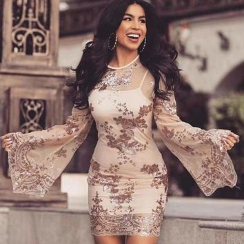 Summer  Evening Party Dress Elegant Sequin Lace Club Sexy Flare Sleeve Mini Dress