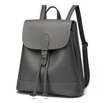 University College Backpack AEQUEEN PU Leather  Minimalist Women Rucksack Solid Lady Shoulder Bags  Bookbag Travel Daypack Girl Preppy StyleAT_63_4