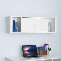 Floating Hutch Home Office Furniture White Finish With Storage Compartments New