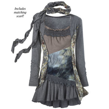 Ragamuffin Tunic Dress - New Age, Spiritual Gifts, Yoga, Wicca, Gothic, Reiki, Celtic, Crystal, Tarot at Pyramid Collection