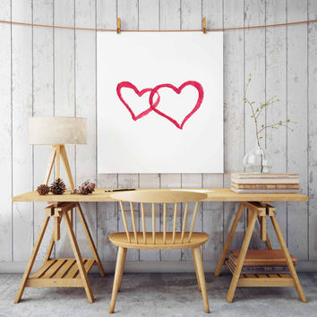 "Pink girls bedroom decor, Nursery art ""Watercolor Heart"" print Gift for Her Pink Nursery wall decor Printable wall art Pink girls GIFT IDEA"