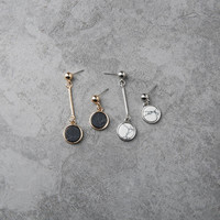 Tes - Gold and silver plated marble stone asymmetrical dangle earrings