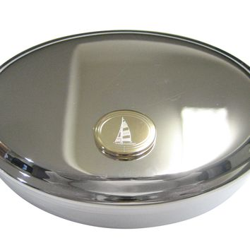 Gold Toned Etched Oval Nautical Sail Boat Oval Trinket Jewelry Box