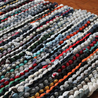 Rag Rug Utility Laundry Workshop Upcycled T Shirt Country Cabin Navy Blue Brown Green Orange Red Gray Rectangle 25x37 -US Shipping Included