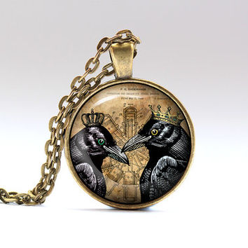 Bird pendant Victorian necklace Crow jewelry SNW8