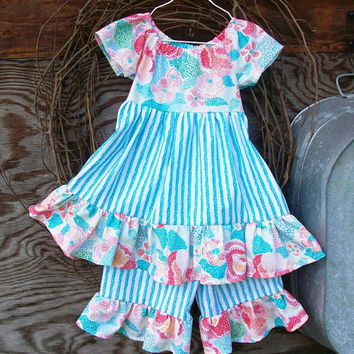 Girl's Outfit, ruffled Dress and shorts Size 3,  Blue stripe, Peasant style, sash tie