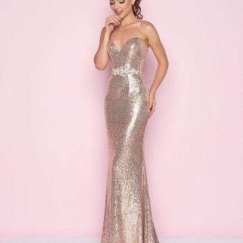 Mac Duggal - 77427L Strapless Sweetheart Sequined Gown