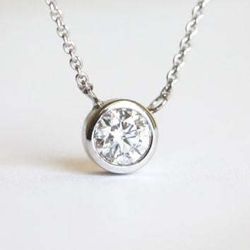 Diamond Solitaire Bezel Necklace .40 CT