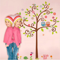 Colorful Owls Tree 2 - Vinyl Art Mural Home Room Decal Decor Wall Stickers