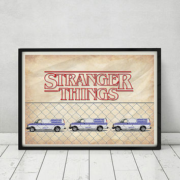 Stranger Things Netflix 80's Series TV Show Movie Hawkins Power and LIght Art Print Poster Gift