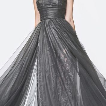 Floor Length Strapless Lace Pant Suit Charcoal Slitted Tulle Overskirt
