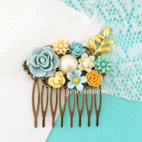 Blue Gold Wedding Hair Comb Light Turquoise Bridal Headpiece White Yellow Cream Ivory Floral Leaf Shabby Chic Vintage Style Romantic WR JW
