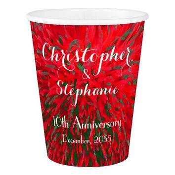 Red Green Christmas Wedding Anniversary Party Paper Cup