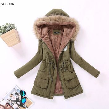 VOGUE!N New Womens 2016 New Winter Casual Outwear Military Hooded Coat Lamb Wool Outwear Parkas for Women Winter