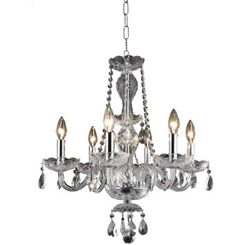 "Princeton 20"" Diam Chandelier, Chrome Finish, Clear Crystal, Royal Cut"