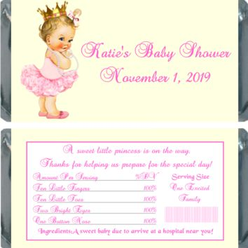10 Princess Baby Shower Chocolate Bar Wrappers Light Skin