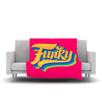 "Roberlan ""Funky"" Pink Orange Fleece Throw Blanket"