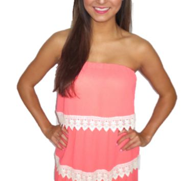 Coral Crochet Layer Strapless Dress