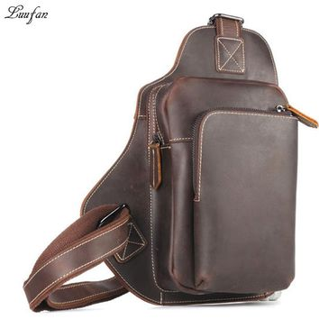 Vintage genuine leather men chest bag iPAD mini shoulder bag casual cowhide crossbody bags small riding travel sling pack