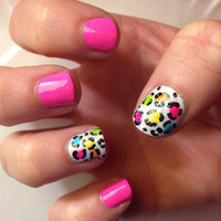 colorful glitter leopard print design on false nails by MadeByMace