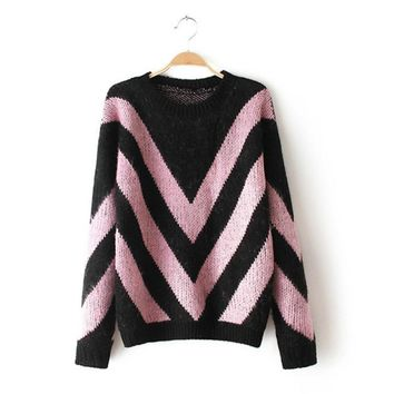 Long Sleeve Pullover Knit Tops Winter Thicken Sweater [8422525761]