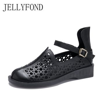 JELLYFOND 2018 Vintage Style Gladiator Sandals Women Handmade Real Leather Cover Toes Designer Platform Summer Shoes Woman