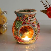 1pc Mosaic Glass Candle Holder Incense Burner Oil Lamp Cafe Bar Home Table Decorative Candlestick Wedding Christmas Dinner Decor
