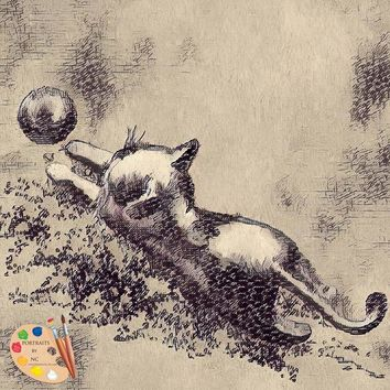 Kitten Playing With Ball - Fabric Poster Print