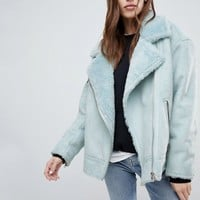 Weekday Longline Aviator Jacket with Borg Collar at asos.com