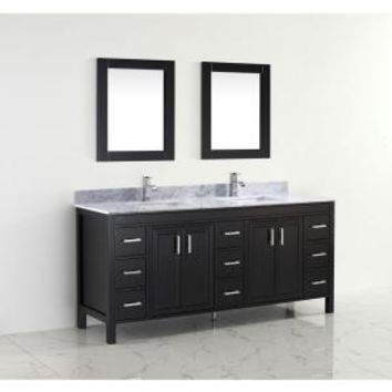 Studio Bathe, Dawlish 75 in. Vanity in Espresso with Marble Vanity Top in Carrara White and Mirror, DAWLISH 75 ESPRESSO-CARRERA at The Home Depot - Mobile