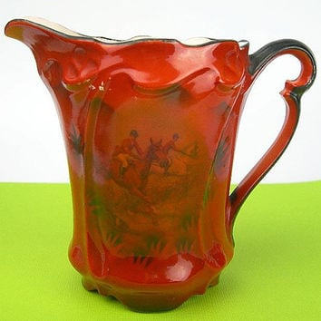 Antique Porcelain Creamer Pitcher Made in Germany, Mitchell Woodbury Company, Orange Paint over Fox Hunt Riders on Horses, Embossed Scroll