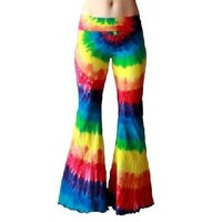 RAINBOW spiral TIE DYE rave yoga pants dyed by rarebutterfly