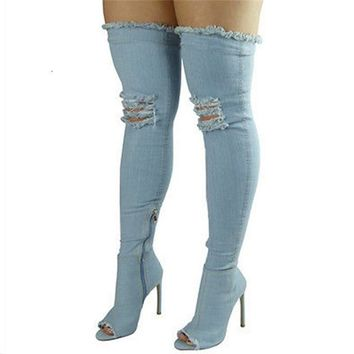 Sexy Women Over The Knee High Boots Denim High Heels Boots Female Jeans shoes ladies Peep Toe Zip Stiletto Zapatos Mujer Solid
