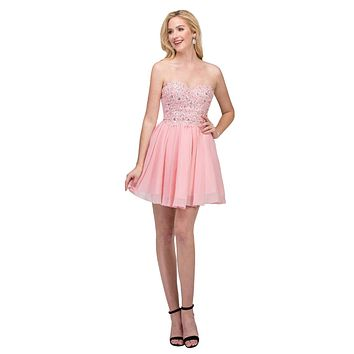 Chiffon A Line Short Homecoming Dress Blush Strapless