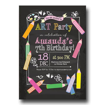 Art Birthday Party Invitations any age for kids birthday invitation Party invitation invite Fun Happy party Invitation Card Design - card 87