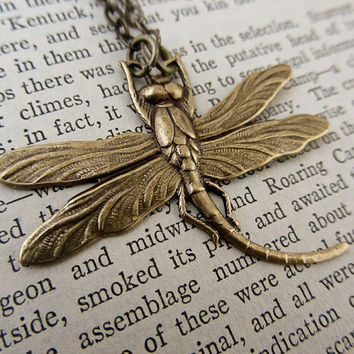 Oxidized Brass Dragonfly Necklace Fantasy Bronze Dragonfly Pendant Brass Necklace