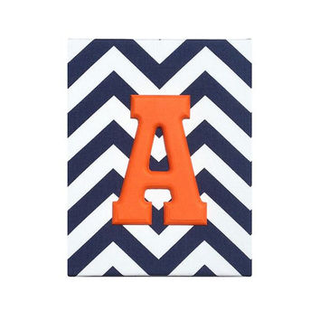 Upholstered Wood Wall Letters / Navy Blue White Chevron Orange Name / Baby Boy Nautical Nursery Decor / Boys Room Baseball Detroit Tigers