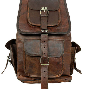 Steampunk Leather Backpack Leather Picnic Bag Weekend overnight bag Everyday for Him and Her