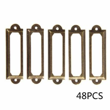 48pcs Antique Brass Metal Drawer Label Pull Frame Handle File Name Card Holder