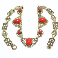 Czech Glass Necklace, Gilded Filigree Bow Motif, 1920s Lipstick Red Oval Cabs, 1920s Art Deco Great Gatsby Antique Jewelry
