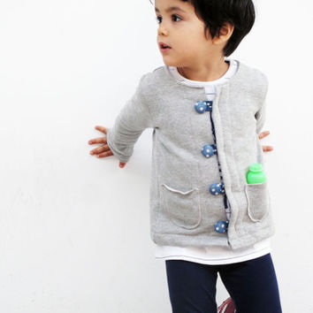 Unlikely weather heather grey kids' jacket cardigan. Sizes 4T, 5T. Hiigh quality knit fabric 100% cotton.