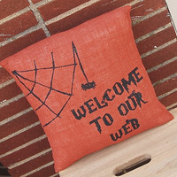Halloween Pillow, Welcome to Our Web, Burlap Pillow, Halloween Decoration, Halloween Decor, Orange Burlap,Halloween,Fall Decor,Spider Pillow