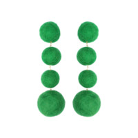 Neely Phelan Pom Pom Drop Earrings- Forest Green