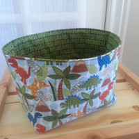 Medium Fabric Storage Bin Basket- Dinosaurs and Dinosaur Print