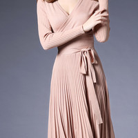 Pink V-Neck Tie-Waist Pleated Dress