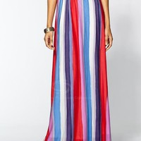 Ladylike Elastic Waist Colorful Stripes Skirt For Women