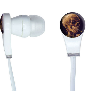 Skull with a Burning Cigarette by Van Gogh In-Ear Headphones